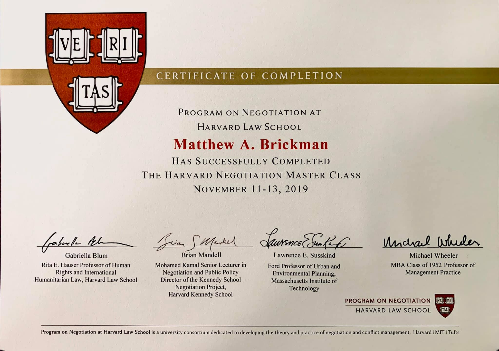 Harvard Business School - Certificate of Completion